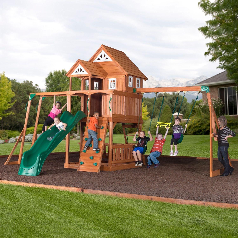 amazoncom worthington cedar playset and free sports u0026 outdoors - Cedar Swing Sets