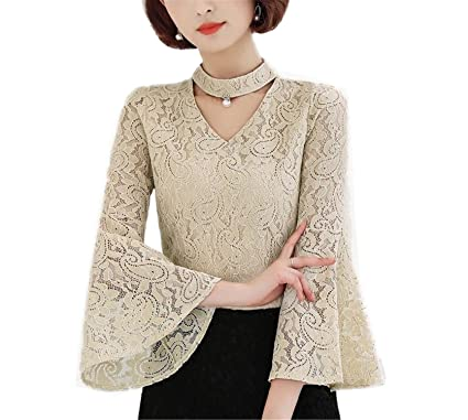 OUXIANGJU Female Spring Blouses Women Fashion Lace Tops Ladies V-Neck Long Sleeve Dentelle Shirts