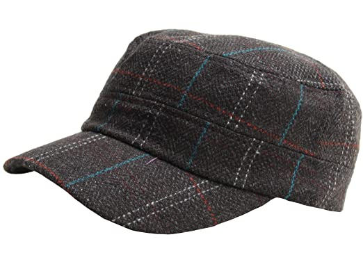 6eaac3c49f0 A115 Wool Herringbone Royal Check Pattern Style Club Army Cap Cadet  Military Hat (Black) at Amazon Men s Clothing store