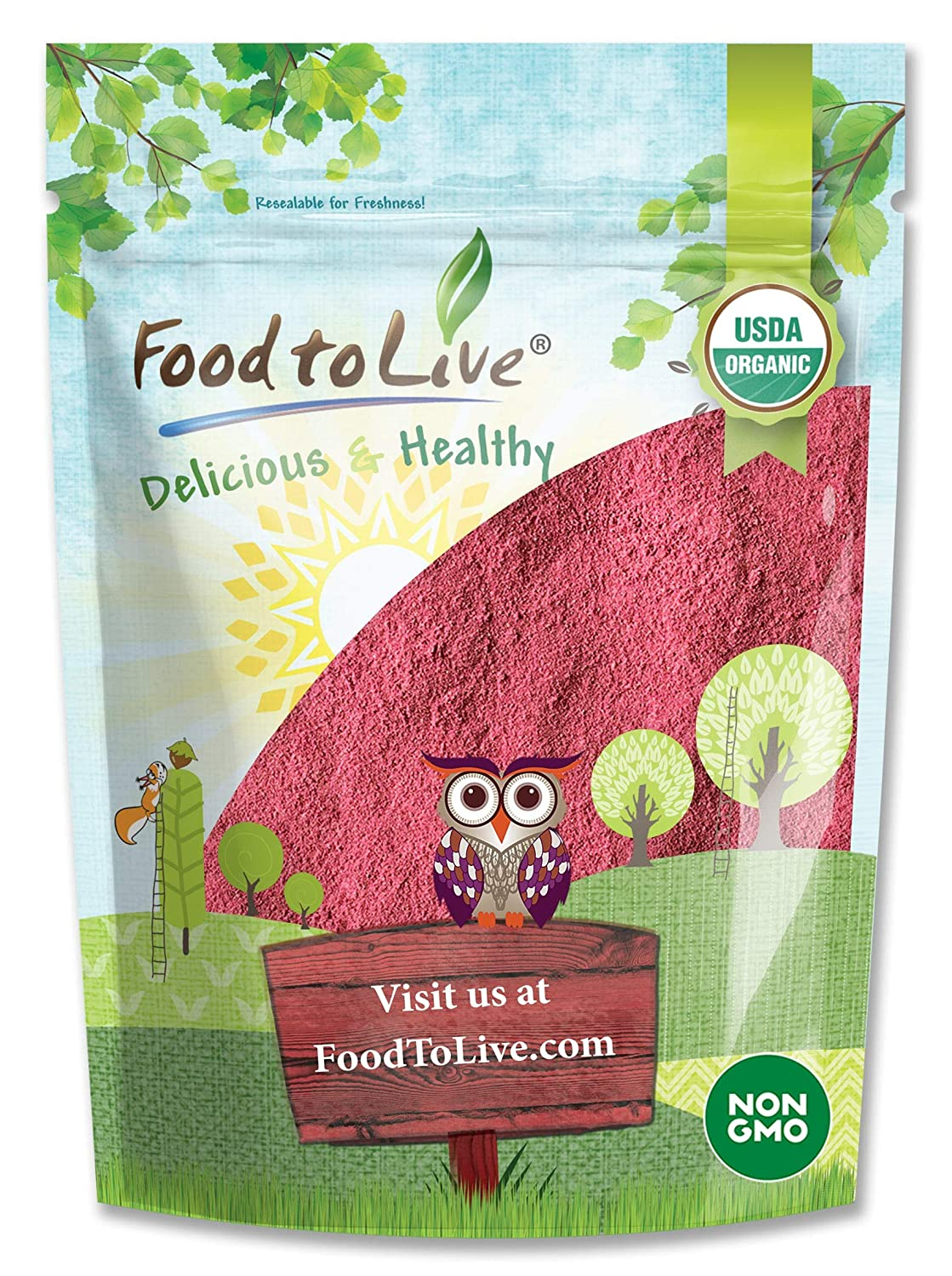 Organic Raspberry Powder, 4 Ounces - Non-GMO, Raw, Vegan Superfood, Bulk, Rich in Essential Amino Acids, Fatty Acids, and Minerals, Great for Juices, Drinks, and Smoothies.