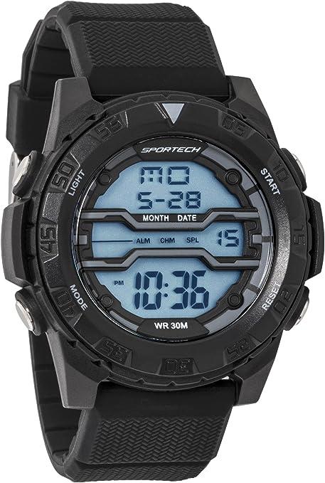 Reloj Deportivo Deportivo Deportivo para Hombre y niño, Negro Mate sobre Negro, Digital, Resistente al Agua SP12603