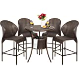 Best Choice Products 5-Piece Outdoor Wicker Bar Table Bistro Set for Patio, Backyard w/Ice Bucket, 4 Chairs - Brown