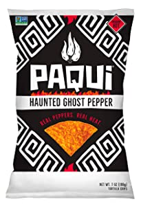 Paqui Spicy Hot Tortilla Chips, Gluten Free Snacks, Haunted Ghost Pepper, 7 Ounce Bags, Pack of 5