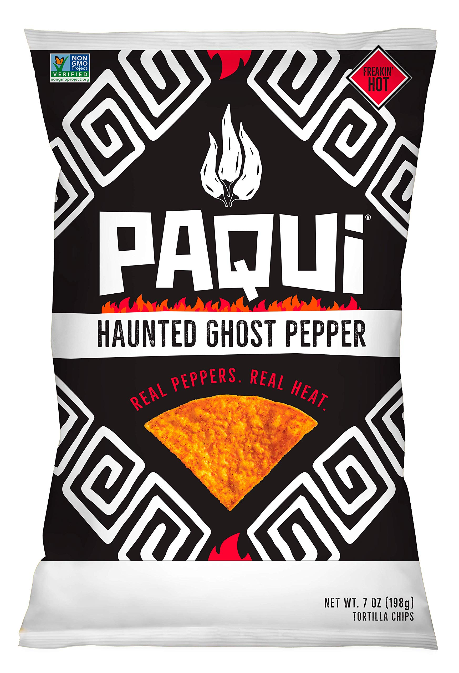 Paqui Haunted Ghost Pepper Tortilla Chips, Gluten Free Snacks, Non-GMO, (7 Ounce) Grocery Sized Bag