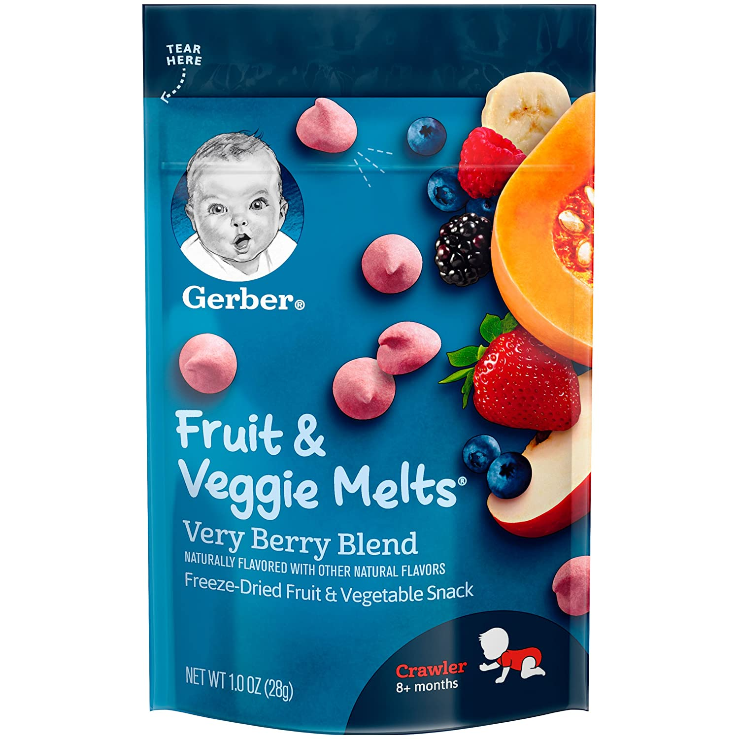 Gerber Graduates Fruit and Veggie, Melts Very Berry Blend, 1 Ounce (Pack of 7) Ger-9585