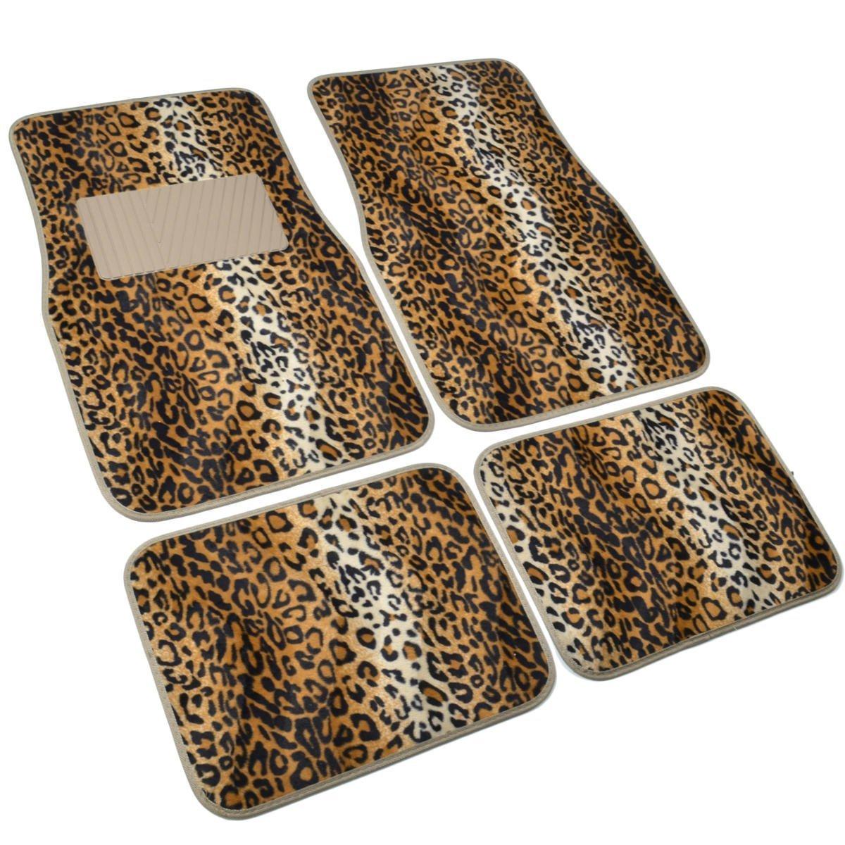 BDK Universal Fit 4-Piece Animal Print Velvet Carpet Floor Mat – Leopard Beige
