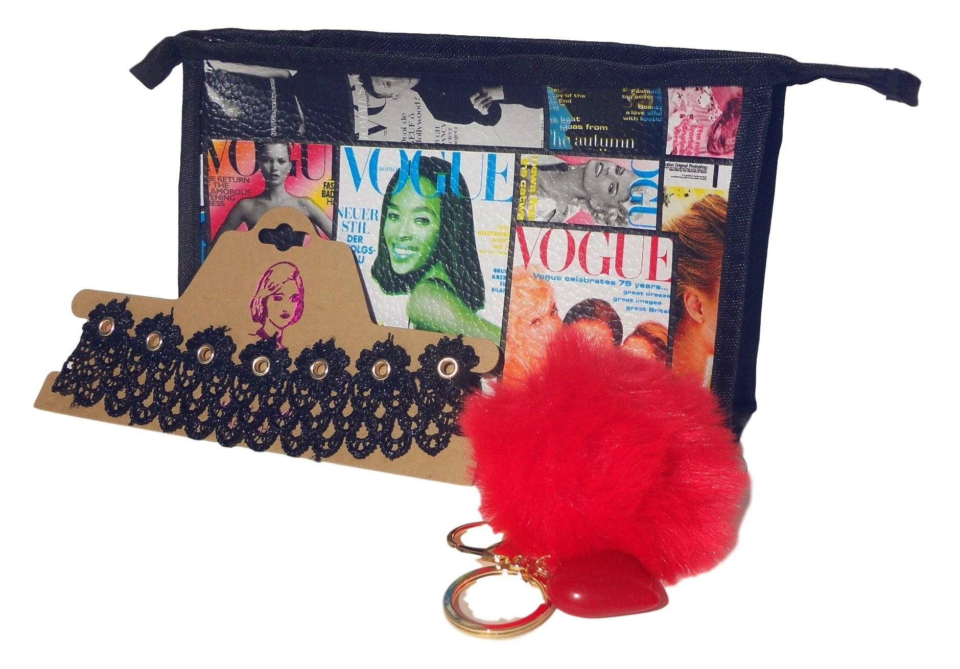 Sale Best 3 Piece Red New Trendy Fur Pom Pom Keychain Lace Choker Necklace Magazine Cover Cosmetic Bag Great Fun Clever Top New 8th Grade School Gift Idea Under 20 Dollars Teen Girl Her