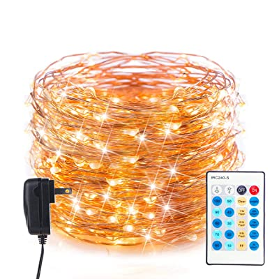 Moonflor LED Fairy String Lights 40Ft with 120 LEDs, Waterproof Dimmable Firefly Lights with Remote, Plug in Copper Wire Starry Lights for Christmas Bedroom Patio, Warm White: Home & Kitchen