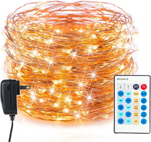 200 LED Fairy Lights Plug in 70FT Starry String Lights Waterproof Copper Wire