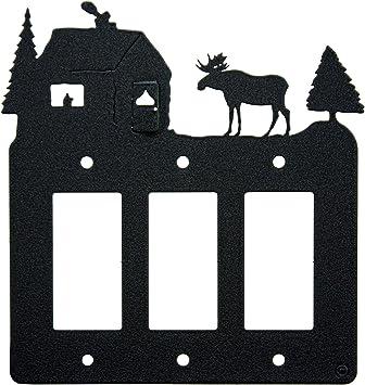 Moose Cabin Triple Gang Light Switch Wall Plate Triple Rocker Gfci Black Amazon Com