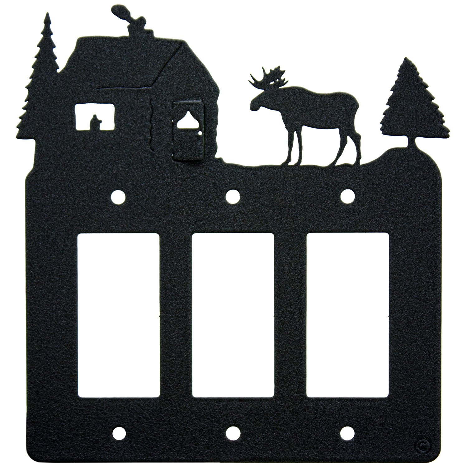 Moose & Cabin Triple 3-Gang Rocker Light Switch - GFCI Power Outlet - Plate-Cover