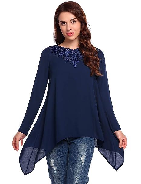 ELESOL Women's Long Sleeve Chiffon Lace Patchwork Asymmetrical Hem Loose Blouse Navy/XXL