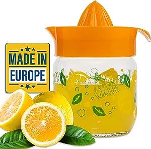 Crystalia Manuel Citrus Juicer with Glass Storage Jar, All Fruit Squeezer for Lemon Orange Lime Grapefruit Juice, Handheld Juice Press Extractor with Handle, Pour Spout and Glass Storage (Orange)