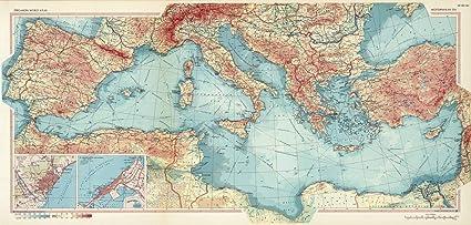 World Map Mediterranean.Amazon Com Historic Map Mediterranean Sea Pergamon World Atlas