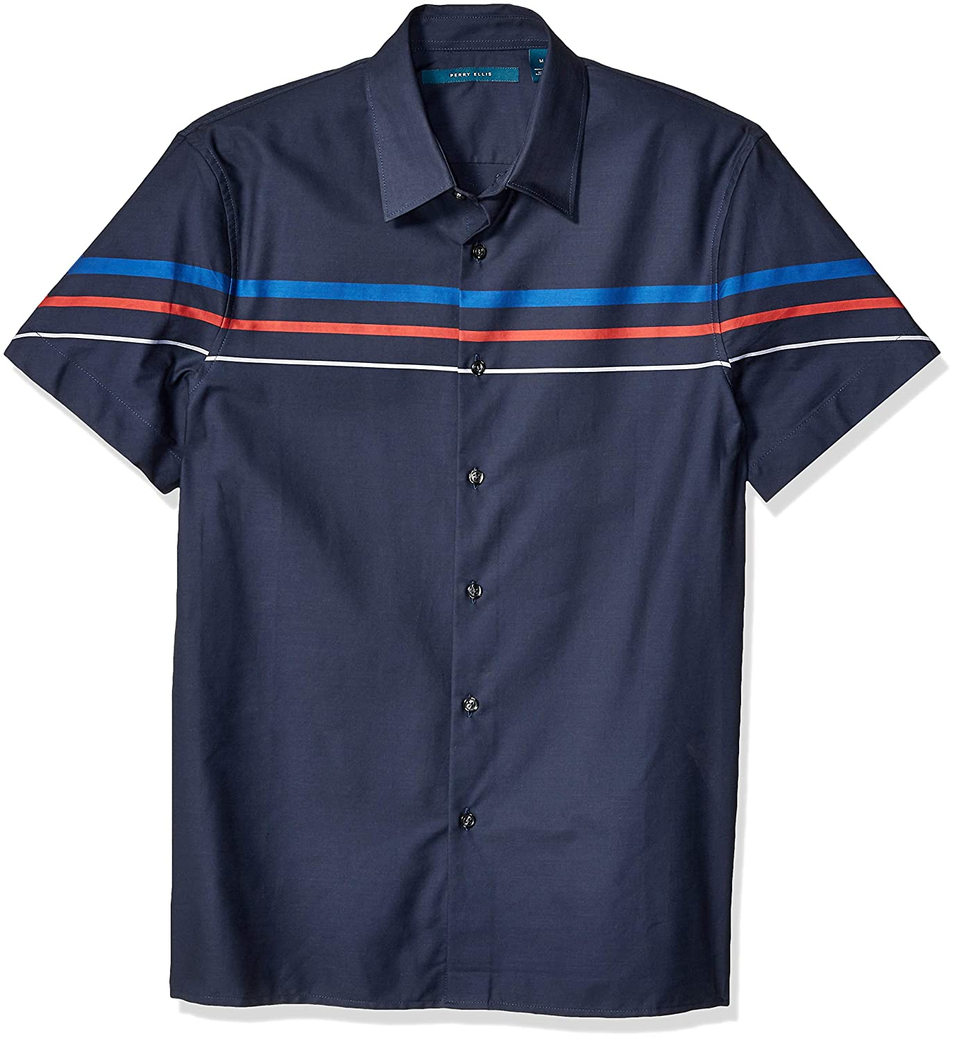 Mens Vintage Shirts – Casual, Dress, T-shirts, Polos Perry Ellis Mens Engineered Stripe Sateen Slub Shirt $50.67 AT vintagedancer.com
