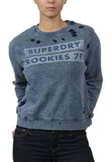 Superdry Dakota Fairisle Crew Pull Femme, Gris (Grey Grit