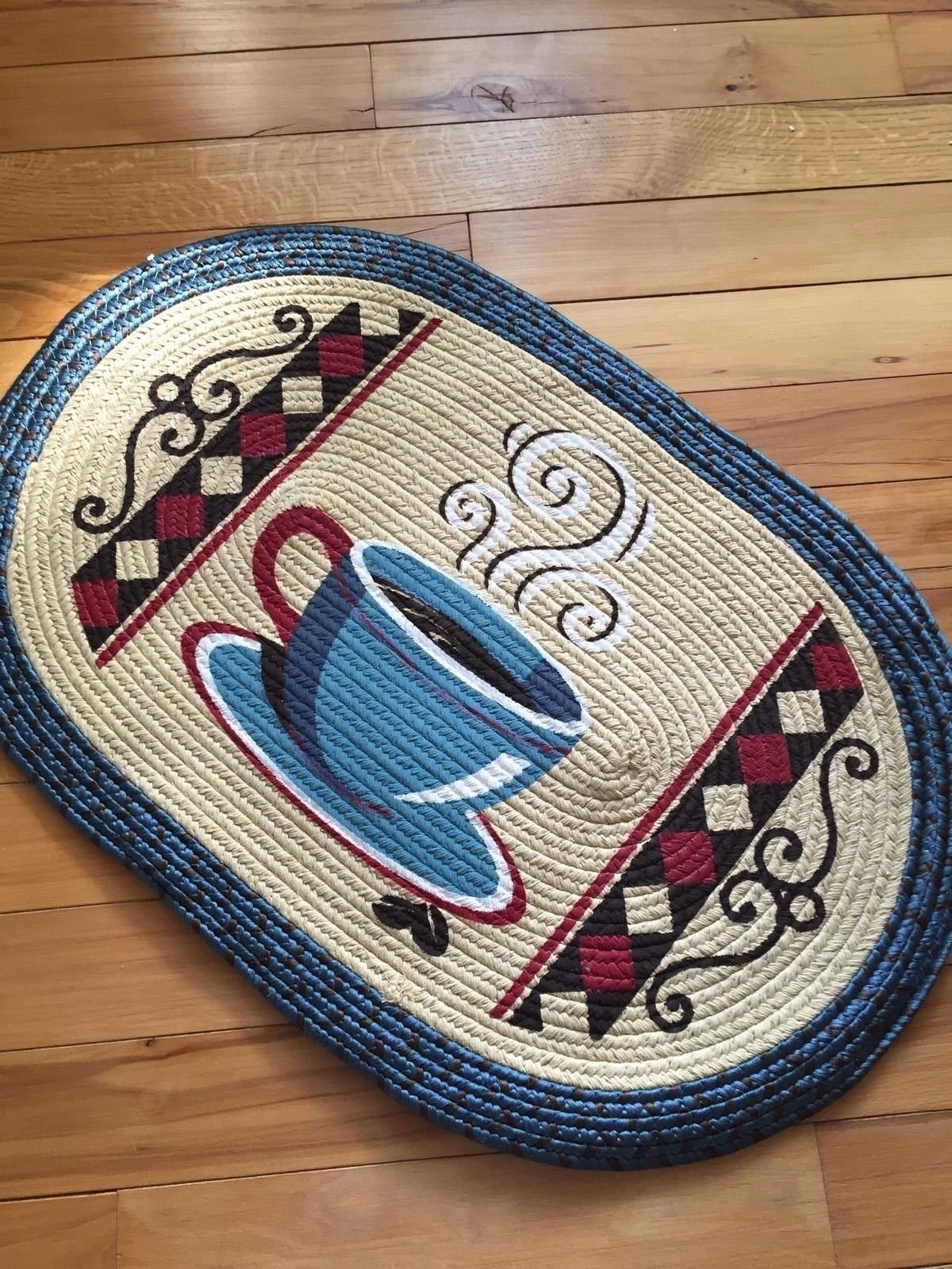 Oval Coffee Mug Design Braided Country Kitchen Rug
