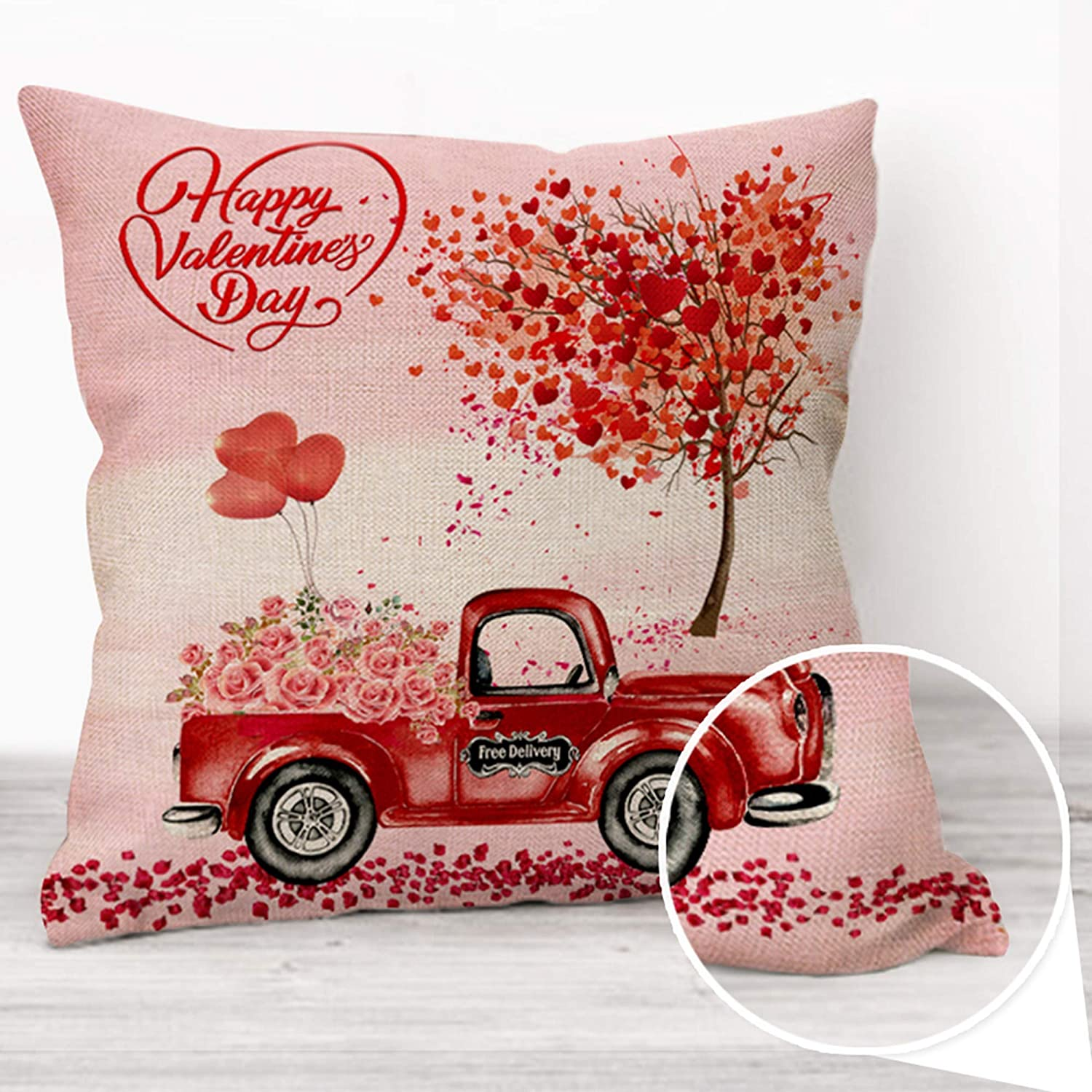 Amazon Com Hexagram Valentine S Day Throw Pillow Cover Cushion Case Decorative Cotton Linen Square Pillow Case 18 X 18 Inch For Sofa Couch Home Decor Love Tree Red Truck Valentines Gift For Women