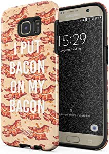 Glitbit Compatible with Samsung Galaxy S6 Edge Case Bacon Strips Print Fat Fast Junk Food Bacon Lover Addict Funny Quotes About Love Shockproof Dual Layer Hard Shell + Silicone Protective Cover