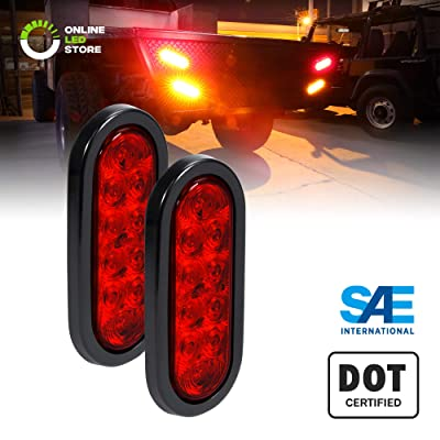 "2pc 6"" Red Oval LED Trailer Tail Light Kit [DOT FMVSS 108] [SAE S2TSI6P2] [Grommet & Plug Included] [IP67 Waterproof] [Stop Turn Tail] Trailer Brake Lights for Boat Trailer RV Trucks: Automotive"