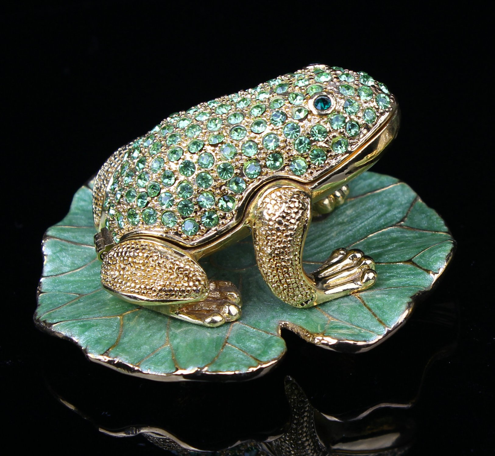 Vintage Frog on Lotus Figurine Collection Crystal Animal Trinket Box Casket Home Decoration Souvenir Gift Metal Crafts (8*8*4.5 cm (L*W*H))