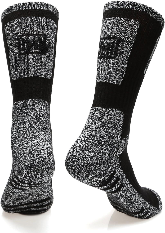 MIRMARU Mens 5 Pairs Multi Performance Outdoor Sports Hiking Trekking Crew Socks