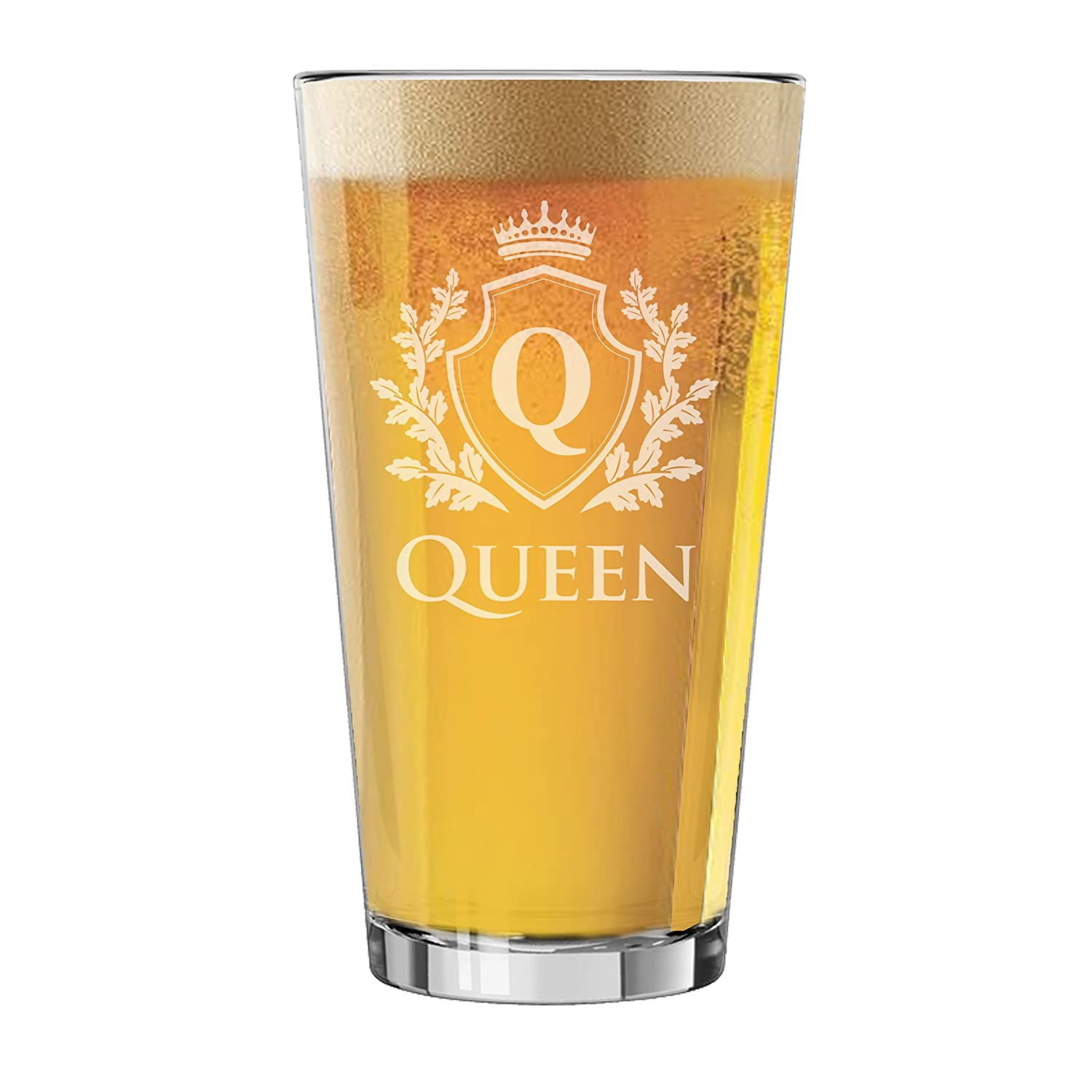 MPM0372F and Couples Anniversary Wedding Pint Beer Glass My Personal Memories King and Queen Stemless Wine Glasses Square Rocks Glass 9oz, Knight King Whiskey Rocks Glassware Set for Bridal Shower Gift