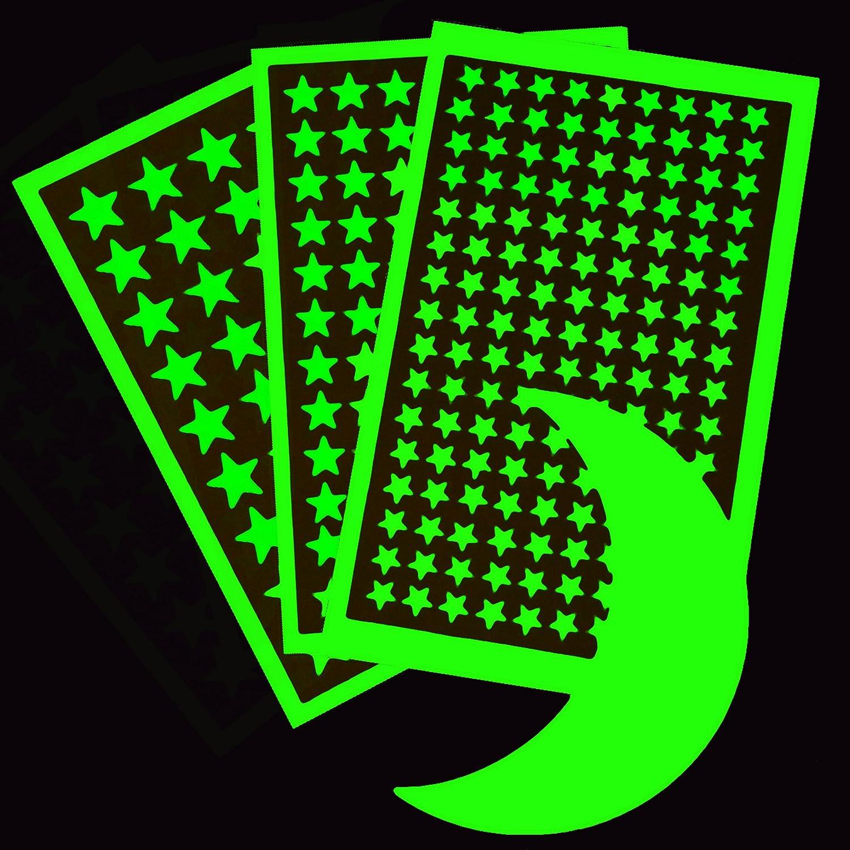 Meteor Tail et Constellation Guide 264 /étoiles adh/ésives Stickers muraux pour la literie Etoiles Phosphorescentes Stickers muraux Dark Stars Pack de 298 1 Lune Cadeau pour Les Enfants 30