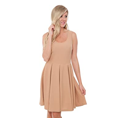 Mili Solid Color Fit and Flare Dress Sleeveless Sundress With Scoop Neckline