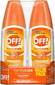 OFF! Family Care Insect & Mosquito Repellent, Unscented with Aloe-Vera, 7% Deet 6 oz, Value pack. (Pack of 2)