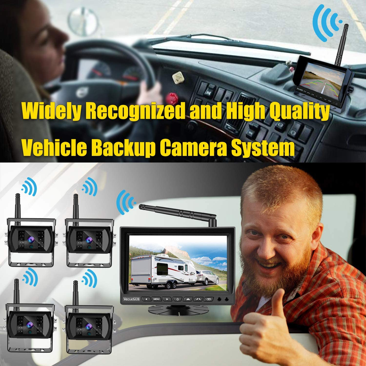 "VECLESUS VMW7-4C Wireless Backup Camera System with 4 Wireless Backup Cameras IP69k Waterproof IR Night Vision 1080P AHD Car Cameras and 7/"" IPS LCD Monitor for Car Parking//Continuous Observation"