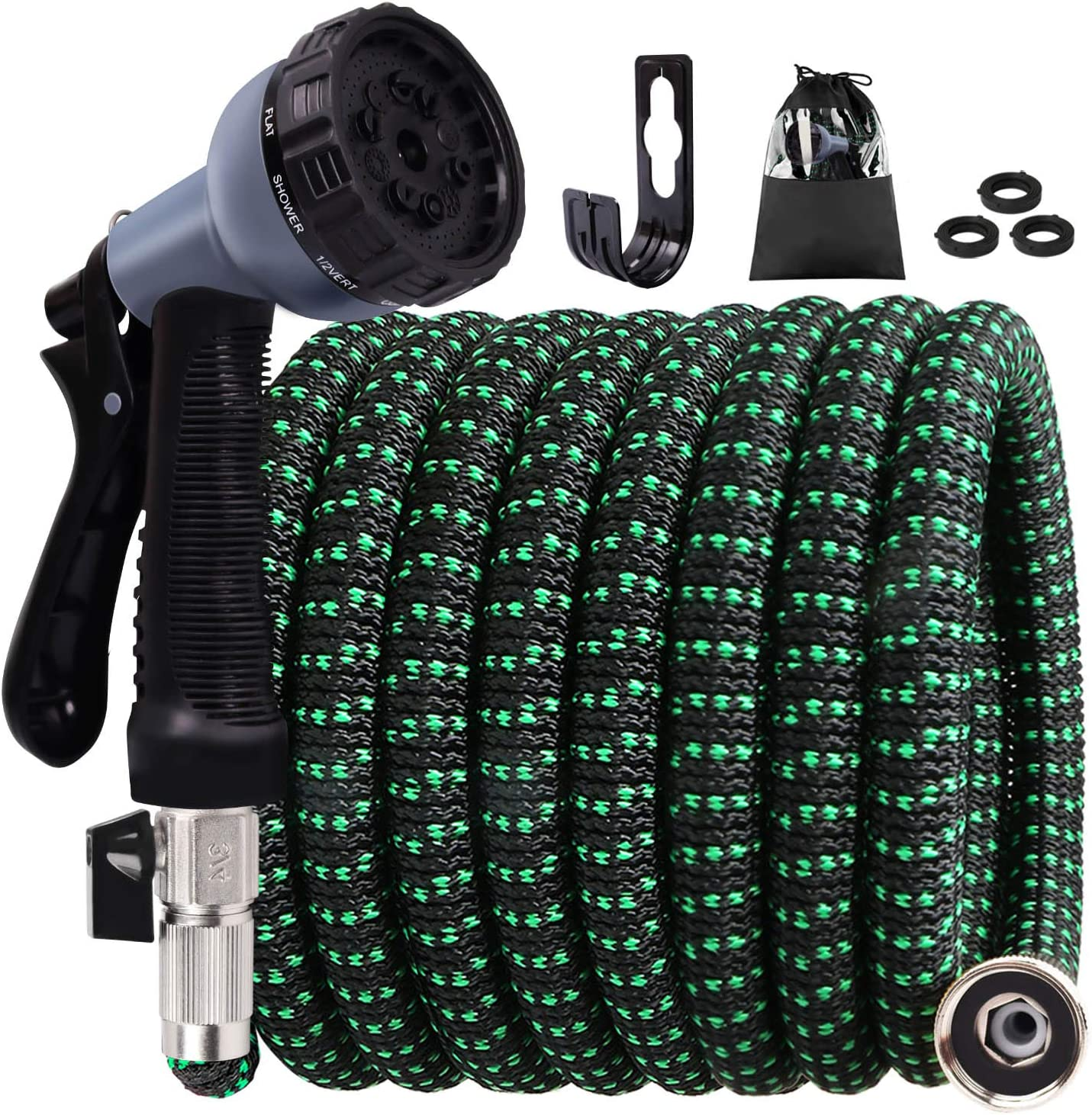 """Expandable Garden Hose, 30ft Water Hose with Multilayer Latex Core, 3/4"""" Nickel-Plated Brass Fittings, Strength Stretch 3750D Fabric,Flexible Hose with 10 Functions Nozzle9(Black Green)"""