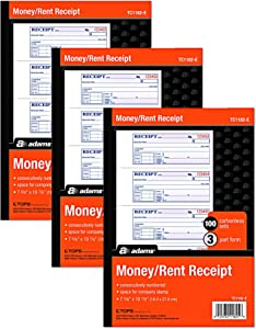 """Adams Money and Rent Receipt Books 3 Part Carbonless 3 Pack, White, Canary &Pink Pages, 7-5/8"""" x 10-7/8"""", Spiral Bound, 100 Set Book, 4 Receipts per Page reciept Book Booklet (TC1182 -E)"""