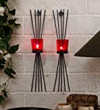 Tiedribbons Tlight Candles /Wall Sconce Holder Set Of 2 (Black, Metal)