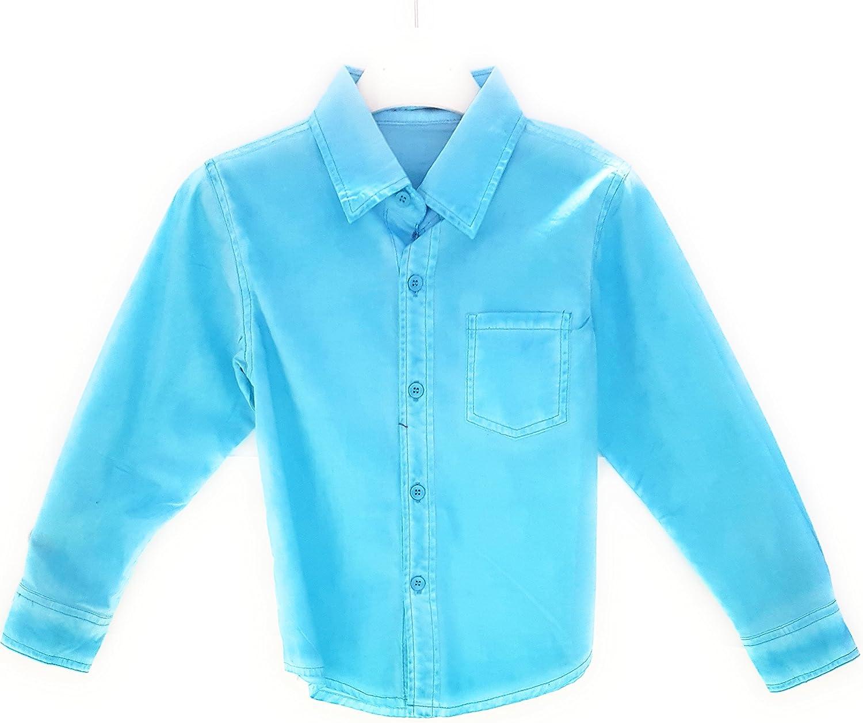 J.N.S. - Camisa - Básico - Cuello Mao - para niño Azul Claro ...