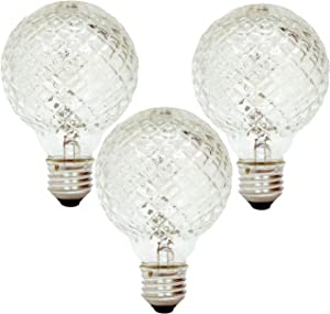 GE Lighting 16774 40-Watt Halogen Faceted G25 Vanity Light Bulb (3 Pack)
