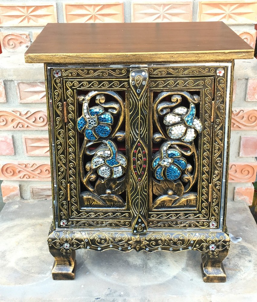 Thai Antique Handmade Furniture Flower Gold and Glass Storage Cabinet/Nightstand, Home Decor, 20''H x 10''W x 15''L. Thailand Work Art By WADSUWAN SHOP. by WADSUWAN SHOP