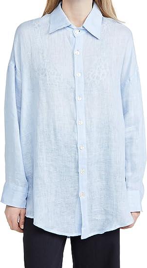 Vitamin A Womens Playa Shell Button Shirt Dress Swim Cover Up Ecolinen Guaze Celeste M//L