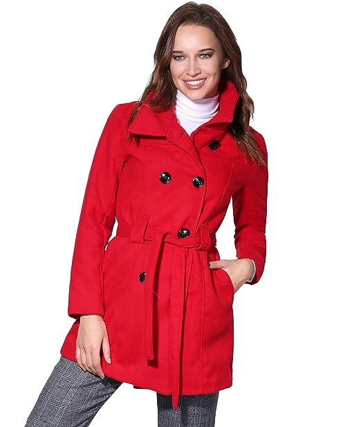 KRISP - Chaqueta - Parka - Cuadros - Cuello Mao - Manga Larga - para Mujer  Rouge (5651) 44  Amazon.es  Ropa y accesorios 3aee483fb177