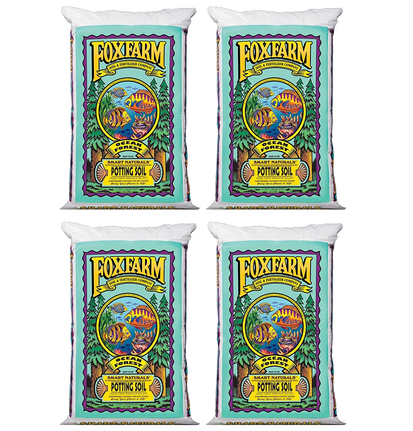 (4) FoxFarm FX14000 Ocean Forest Organic Potting Soil Bags 6.3-6.8 pH | 6 Cu Ft