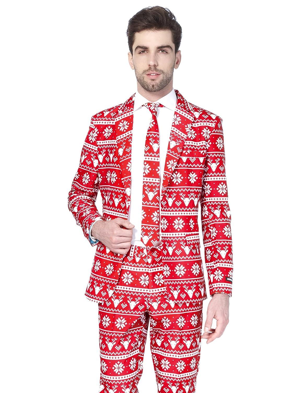 Suitmeister Weihnachtsanzüge für Herren in Verschiedenen Drucken - besteht aus Sakko, Hose und Krawatte Generique