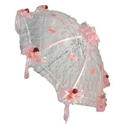 "36"" White Lace Baby Shower Umbrella Pink Babies & Hanging Pacifiers"