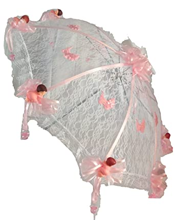 Wonderful 36u0026quot; White Lace Baby Shower Umbrella Pink Babies U0026 Hanging Pacifiers