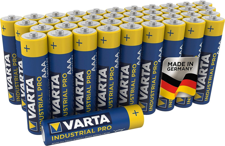 Pila alcalina AAA Micro Varta Industrial, pilas alcalinas LR6 - Paquete de 40 unidades, «Made in Germany»
