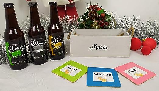 Caja Regalo Personalizada Original con Cerveza artesana Un regalo especial para estas navidades con 3 cervezas artesanas y 3 posavasos: Amazon.es: Alimentación y bebidas