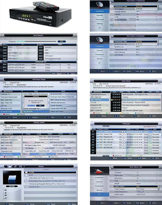 NEW iView HD COMBO FULL Freeview HD + Satellite HD Receiver Set Top Digi  Box 7 DAYS FULL EPG Advanced TV Program USB Recorder Digital Television  Tuner