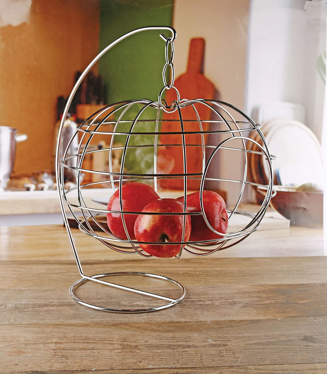 "Circleware Cage Apple Shaped Hanging Fruit Basket Holder, Home and Kitchen Utensils Countertop Organizer Display for Produce, Vegetables and Snacks, 12.99"" X 12.99"" X 16.14"", Silver"