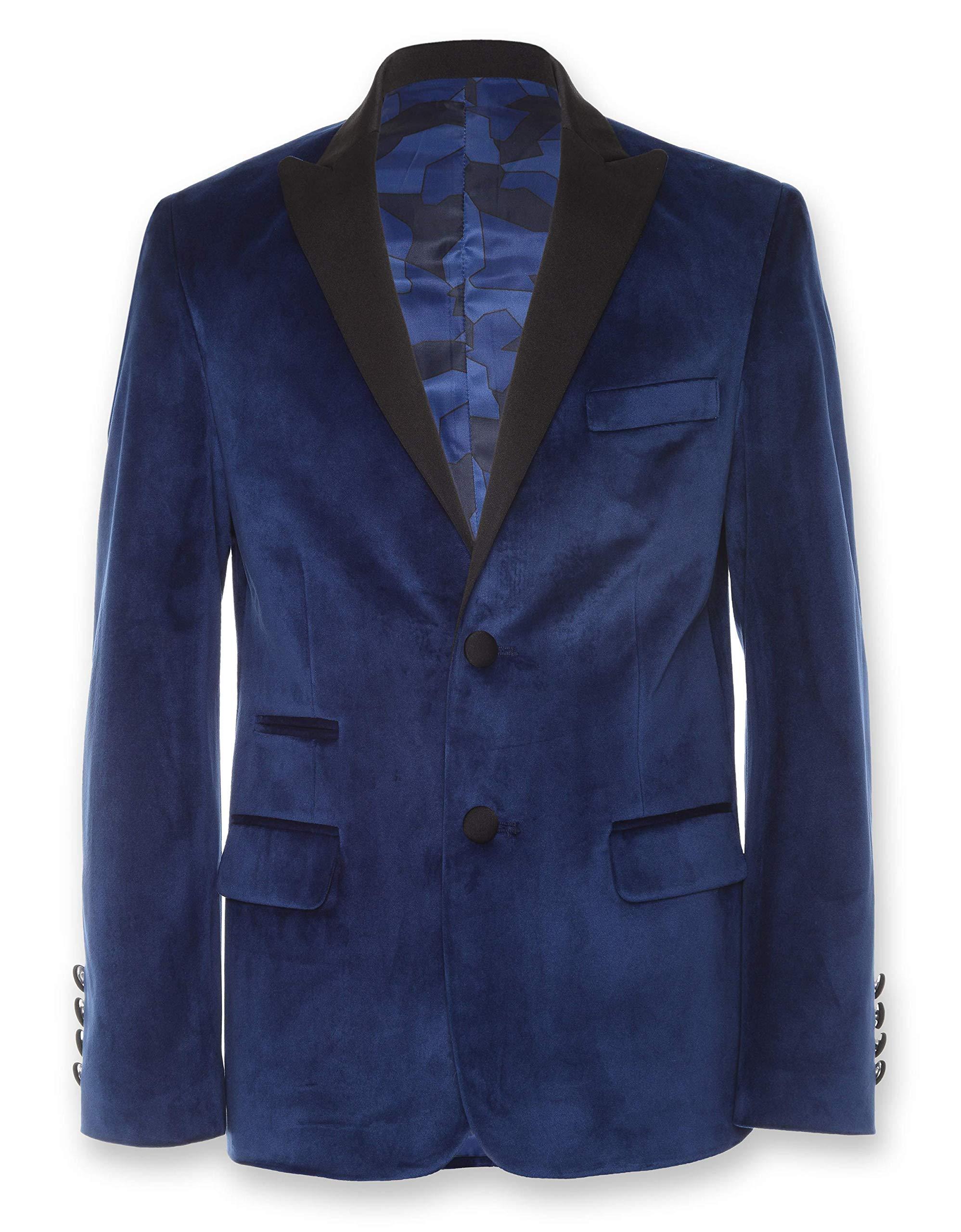 Calvin Klein Big Boys' Velvet Blazer Jacket, Flag Blue, 8