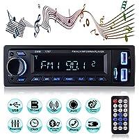 Autoradio Bluetooth, MEKUULA 1 Din Radio de Voiture Audio, Stereo FM Radio 4x60W Poste Radio Voiture Soutien Bluetooth/USB/SD/AUX/EQ / MP3 / TF + Télécommande