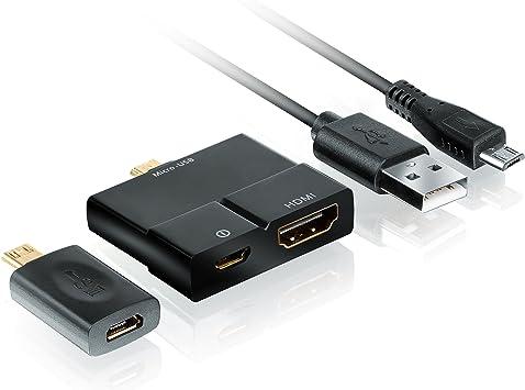 CSL – Adaptador de MHL Micro USB a HDMI (microUSB 5pin + 11Pin) – para sincronización de smartphone/